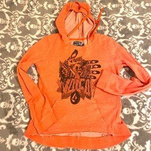 Volcom Sweaters - Volcom Orange Tribal Deconstructed Style Hoodie